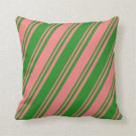 [ Thumbnail: Light Coral & Forest Green Stripes Pattern Pillow ]