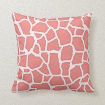Light Coral Giraffe Animal Print Throw Pillow