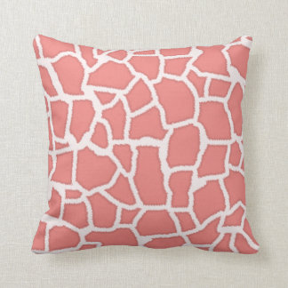 Light Coral Giraffe Animal Print Throw Pillow