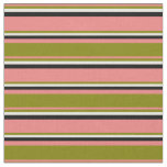 [ Thumbnail: Light Coral, Green, Beige, and Black Colored Fabric ]