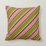 [ Thumbnail: Light Coral, Green, Beige, and Black Colored Throw Pillow ]