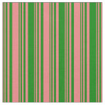 [ Thumbnail: Light Coral & Green Colored Striped Pattern Fabric ]