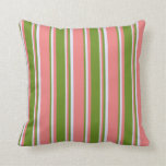 [ Thumbnail: Light Coral, Green & Lavender Colored Pattern Throw Pillow ]