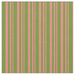 [ Thumbnail: Light Coral & Green Pattern of Stripes Fabric ]