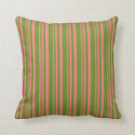 [ Thumbnail: Light Coral & Green Pattern of Stripes Pillow ]