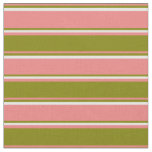 [ Thumbnail: Light Coral, Green & White Colored Lines Pattern Fabric ]