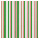 [ Thumbnail: Light Coral, Green & White Pattern Fabric ]