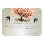 """Light Coral Heart Leaf Tree Wedding Invites 3.5"""" X 5"""" Invitation Card"""