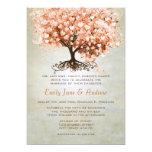 Light Coral Heart Leaf Tree Wedding Invites 13 Cm X 18 Cm Invitation Card