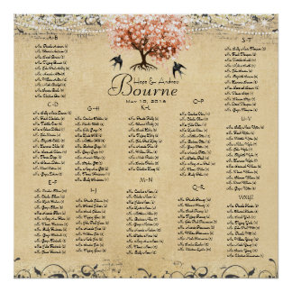 Light Coral Heart Leaf Tree Wedding Seating Chart Poster