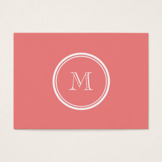 Light Coral High End Colored Monogram Business Card