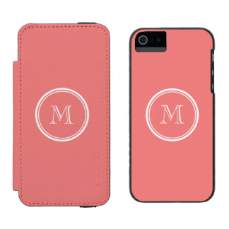Light Coral High End Colored Monogram iPhone SE/5/5s Wallet Case