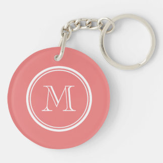 Light Coral High End Colored Monogram Keychain