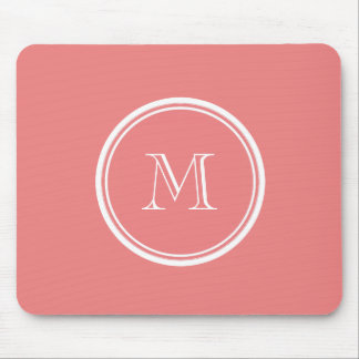 Light Coral High End Colored Monogram Mouse Pad