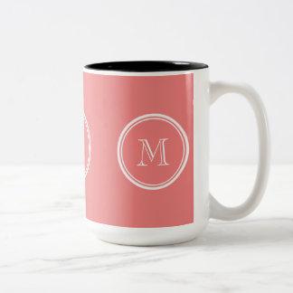 Light Coral High End Colored Monogram Two-Tone Coffee Mug