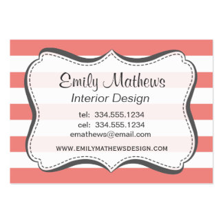 Light Coral Horizontal Stripes Large Business Cards (Pack Of 100)