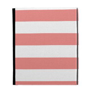 Light Coral Horizontal Stripes iPad Cases