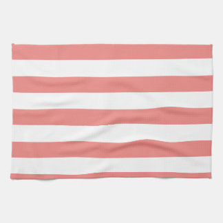 Light Coral Horizontal Stripes Hand Towel