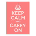 Light Coral Keep Calm and Carry On Business Card