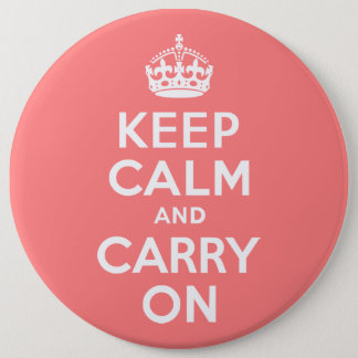 Light Coral Keep Calm and Carry On Button