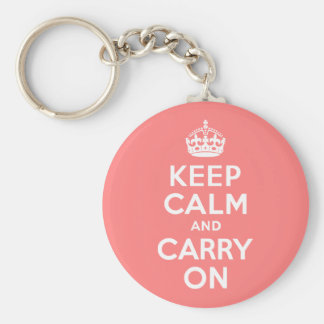 Light Coral Keep Calm and Carry On Keychain