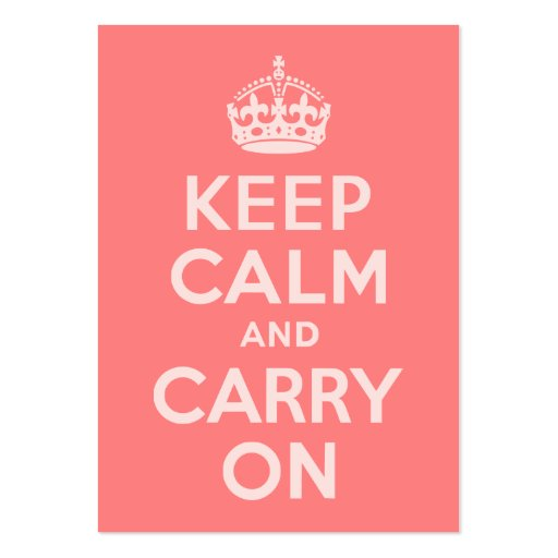 Light Coral Keep Calm and Carry On Large Business Cards (Pack Of 100)