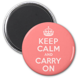 Light Coral Keep Calm and Carry On Magnet