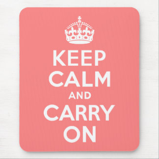 Light Coral Keep Calm and Carry On Mouse Pad