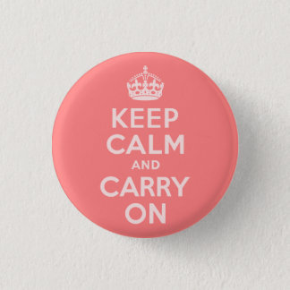 Light Coral Keep Calm and Carry On Pinback Button