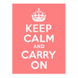 Light Coral Keep Calm and Carry On Post Cards
