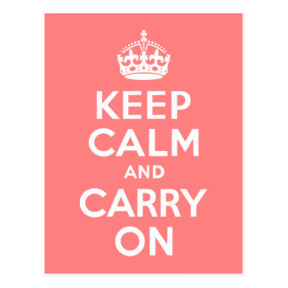 Light Coral Keep Calm and Carry On Postcard