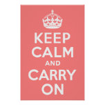Light Coral Keep Calm and Carry On Print