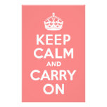Light Coral Keep Calm and Carry On Customized Stationery