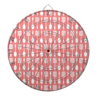 Light Coral Kitchen Cooking Utensils Pattern Dartboard With Darts