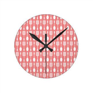 Light Coral Kitchen Cooking Utensils Pattern Round Clock
