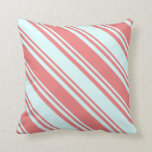 [ Thumbnail: Light Coral & Light Cyan Striped Pattern Pillow ]