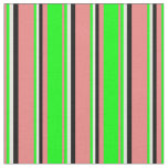 [ Thumbnail: Light Coral, Lime, Beige & Black Colored Stripes Fabric ]