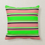 [ Thumbnail: Light Coral, Lime, Beige & Black Colored Stripes Throw Pillow ]