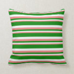 [ Thumbnail: Light Coral, Mint Cream, and Green Pattern Pillow ]