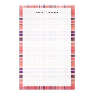 Light Coral, Navy Blue, White Preppy Madras Plaid Stationery