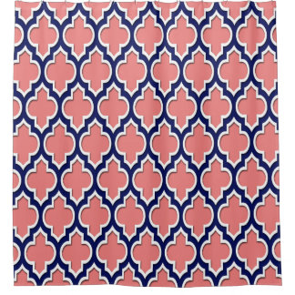 navy and coral shower curtain. Light Coral Navy Blue White XL Moroccan  4DS Shower Curtain And Curtains Zazzle