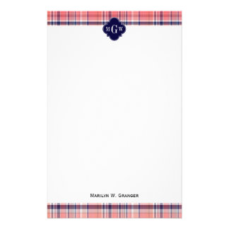 Light Coral Navy Wht Preppy Madras Monogram Stationery