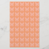 Light Coral Orange Background Butterfly Patterns