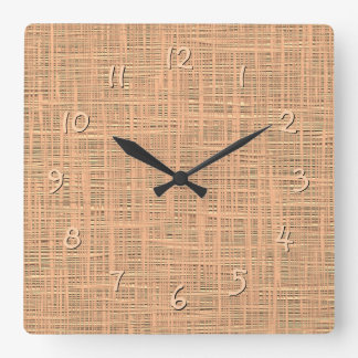 Light Coral Orange Color Faux Jute Fabric Pattern Square Wall Clock