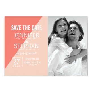 Light Coral Peach Two Tone Save the Dates Card