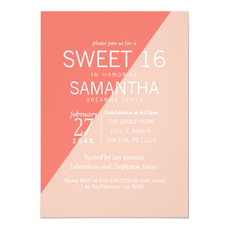 Light Coral Peach Two Tone Sweet 16 Invitations