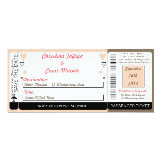 Light Coral Pink/ Boarding Pass Wedding Invitation