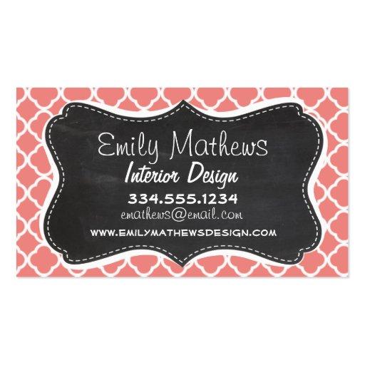 Light Coral Pink Moroccan Quatrefoil; Chalkboard Business Card Template
