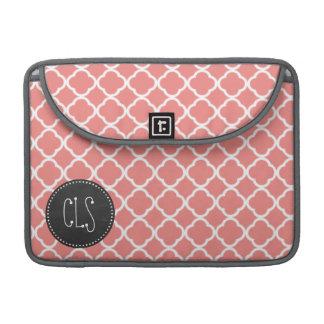 Light Coral Pink Moroccan Quatrefoil; Chalkboard Sleeve For MacBooks