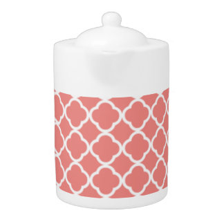 Light Coral Pink Moroccan Quatrefoil Teapot